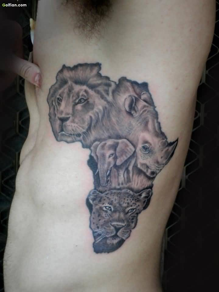 Grey Ink Africa Map Animals Tattoo For Ribs Side