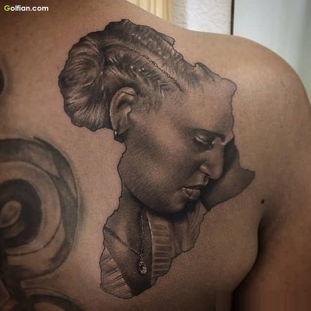 Grey Ink Africa Map Women Face Tattoo For Back Body