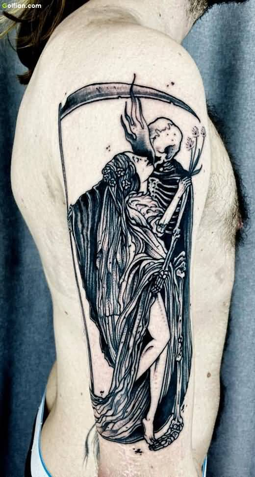 Grey Ink Grim Reaper With Girl Tattoo On Men Arm
