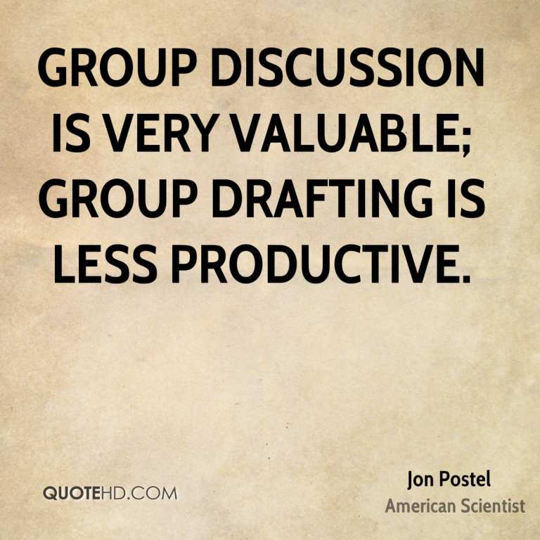 Group discussion is very valuable group drafting is less pro
