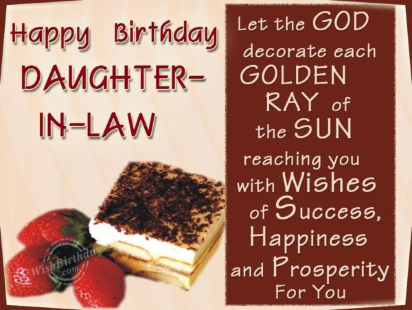 Happy Birthday Daughter In Law Let The GOD Decorate Each Golden Ray
