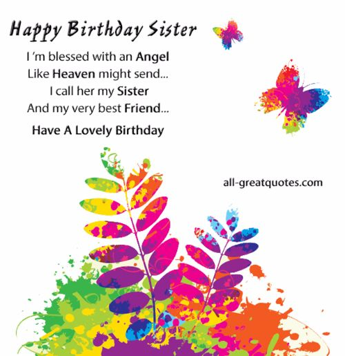Happy Birthday Sister I'm Blessed With An Angel I Call Her My Sister Have A Lovely Birthday
