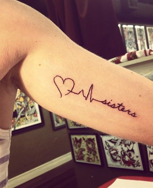 Heartbeat And Sister Love Tattoo Made On Men Inner Arm