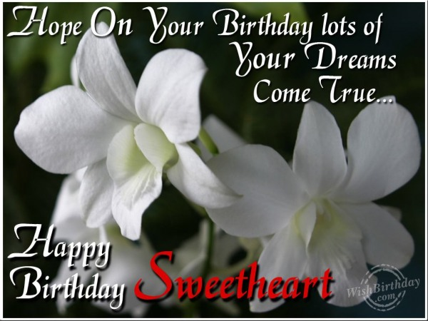 Hope On Your Birthday Lots Of Your Dreams Come True Happy Birthday Sweetheart