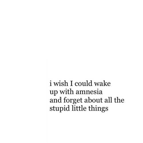 I wish i could wake up with amnesia and forget about all the stupid little things
