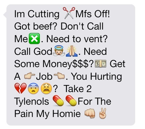 Im cutting mfs off got beef don't call me need to vent call god