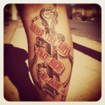 Impressive Banner Anchor Tattoo Design For Men Calf