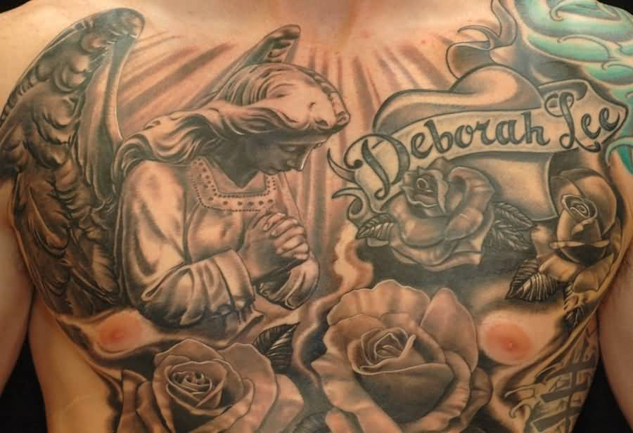 Incredible 3d Angel Banner Rose Tattoo On Men Chest