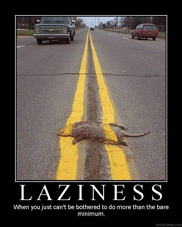 Laziness When You Just Cant Be Bothered To Do More Than The Bare Minimum