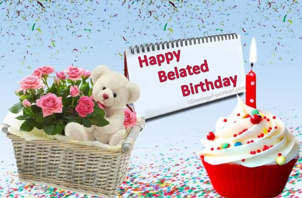 Lovely Cute Teddy Belated Birthday Greetings