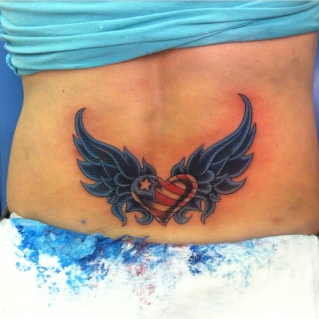 Lovely Heart With Wings Tattoo On Women Waist