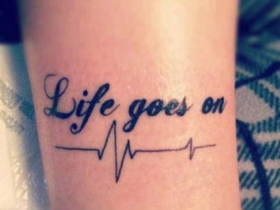 Lovely Quote Heartbeat Tattoo Design On Girl Sleeve