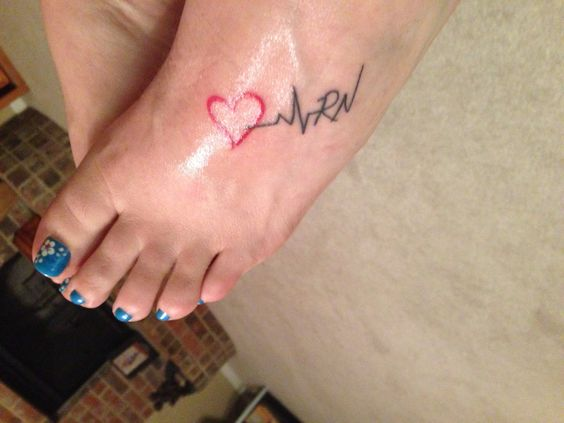 Lovely Red Ink Heartbeat Name Initial Tattoo For Women Foot