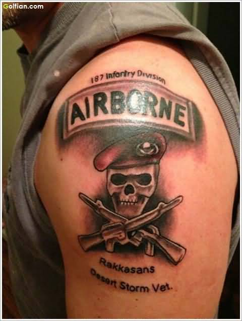 Men Shoulder Decorated With 3d Army Skull Banner and Quote Tattoo Design