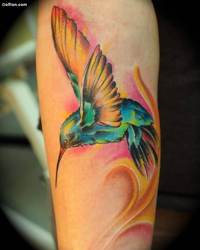 Mind Blowing Aqua Bird Tattoo Made On Women Sleeve