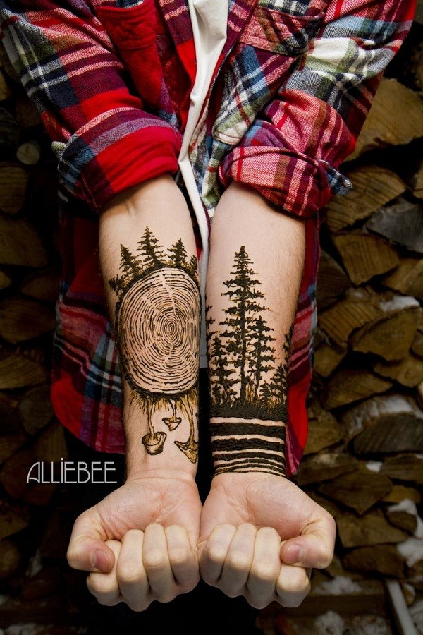 Mind Blowing Forest Tree Tattoo Design Idea For Men Lower Arm