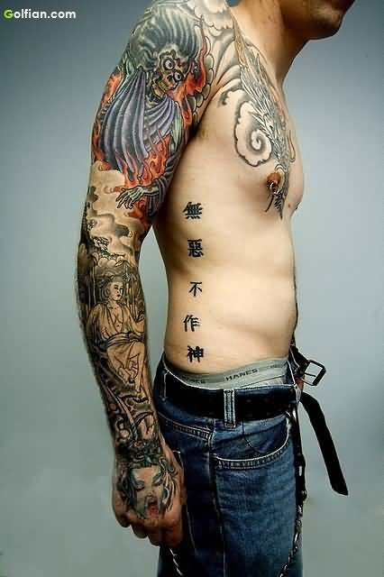 Mind Blowing Full Arm Tattoo Of Asian Culture For Men