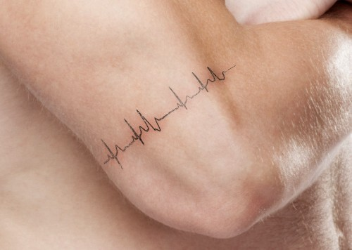 Mind Blowing Heartbeat Small Tattoo For Men Back Arm