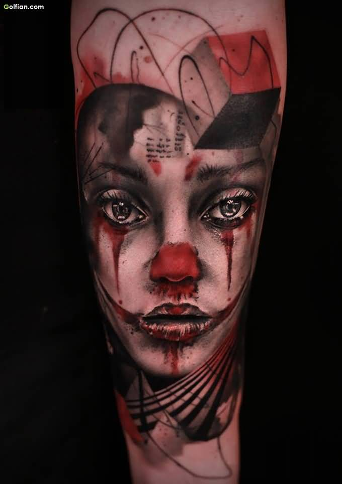 Most Amazing 3d Girl Face Tattoo Design Made On Men Forearm