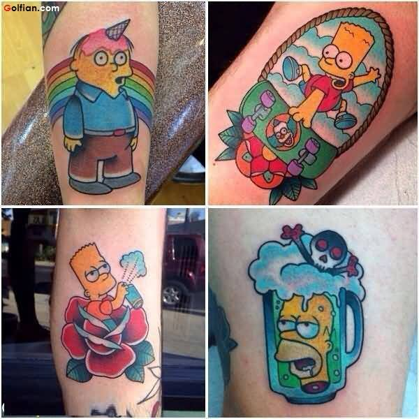 Most Amazing Animated Colorful Cartoon Tattoo Design On Leg
