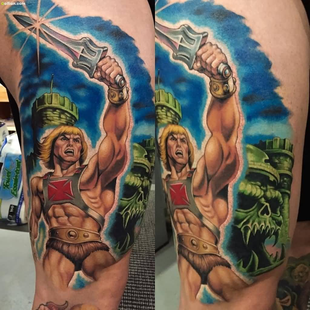 Most Amazing Animated Hercules Tattoo Idea For Arm