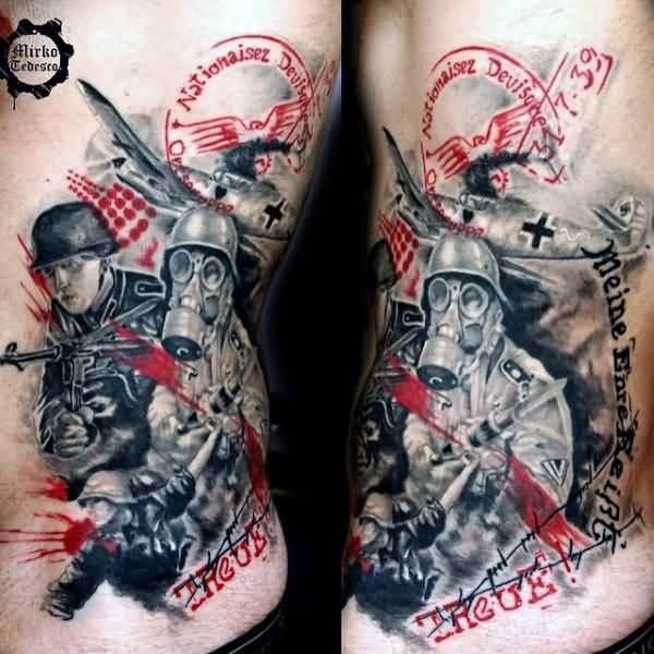 Most Amazing Army Skull Gasmask Tattoo Design Made On Men Ribs
