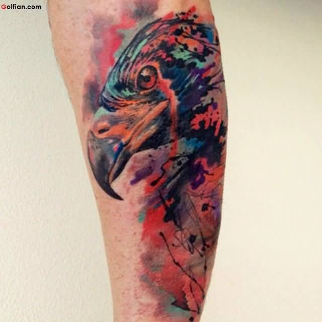 Most Amazing Bird Aqua Tattoo Design Made On Men Forearm