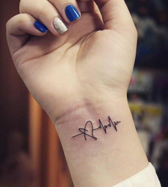 Most Amazing Heartbeat Heart Wrist Tattoo For Cool Girl