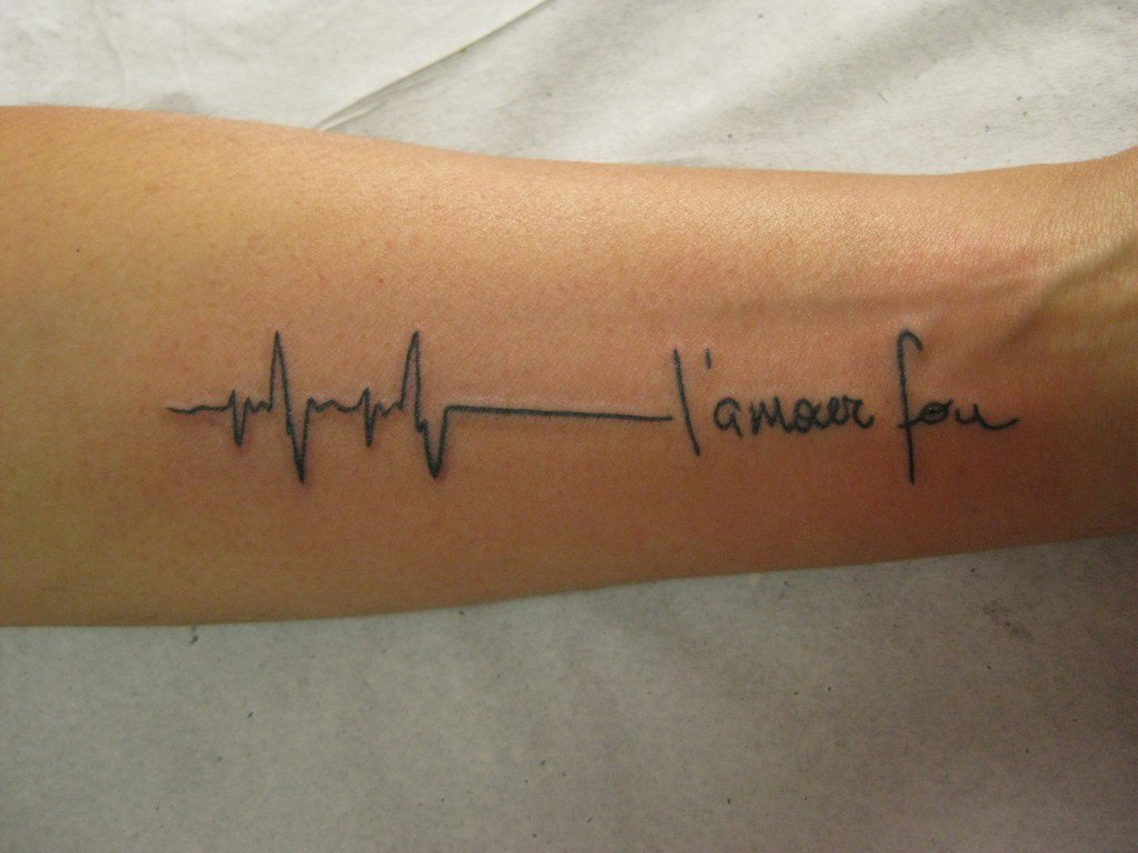 Most Amazing Heartbeat Quote Tattoo Design For Men Lower Arm