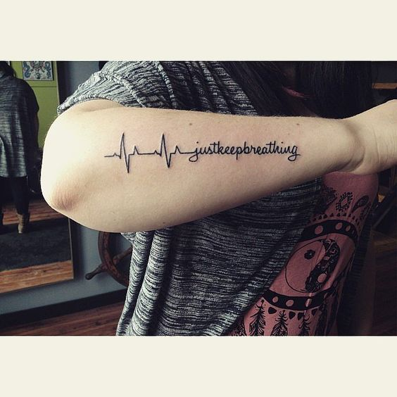 Most Amazing Heartbeat Quote Tattoo For Men Lower Arm