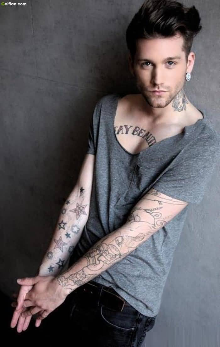 Most Amazing Star Arm Tattoo For Handsome Boy