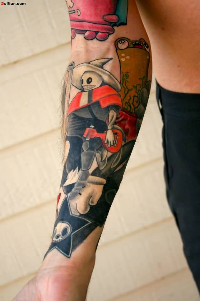 Most Coolest Arm Tattoo Of Scarecrow For Men