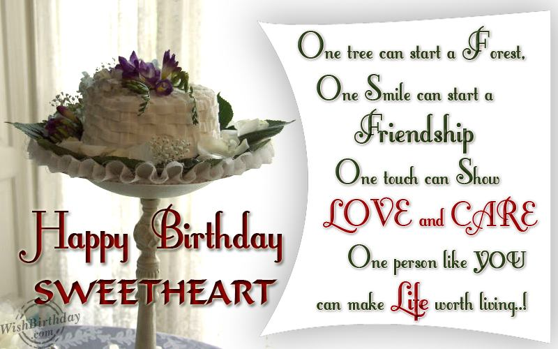 One Tree Can Start A Forest One Smile Can Start A Friendship Happy Birthday Sweetheart