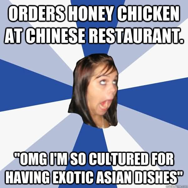 Orders honey chicken at chinese restaurant