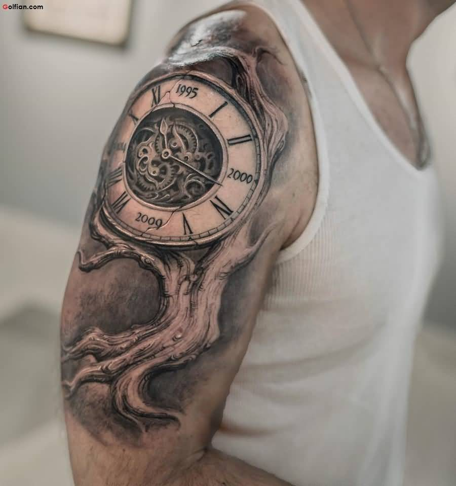 Outstanding 3d Clock and Tree Tattoo Design Made On Men Shoulder