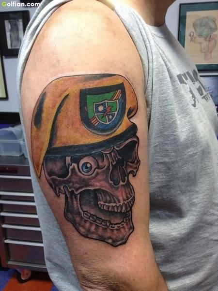 Outstanding Army Skull With Hat Tattoo On Men Upper Arm