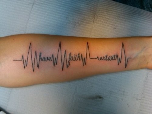Outstanding Heartbeat Quote Tattoo Design On Lower Sleeve