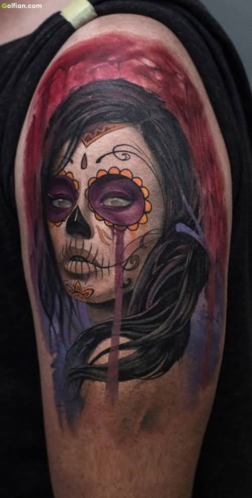 Outstanding Mexican Girl Face Tattoo For Men Shoulder