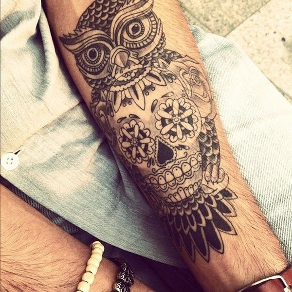 Outstanding Sugar Skull and Traditional Owl Tattoo For Men Arm