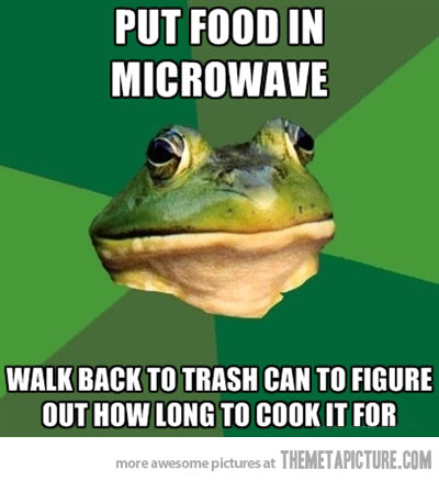 Put Food In Microwave Walk Back To Trash Can To Figure Out How Long