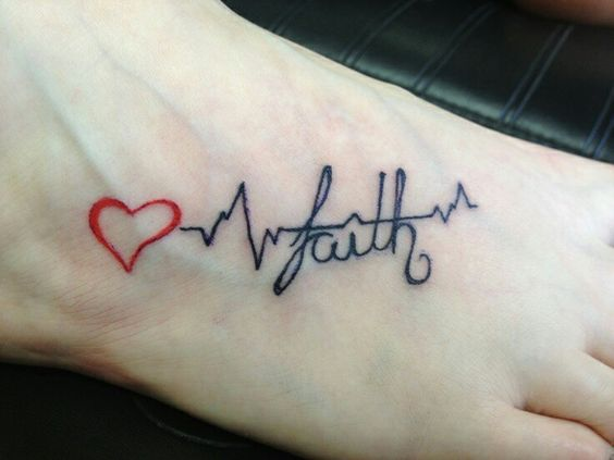 Red Ink Heart Heartbeat Faith Tattoo For Girl Foot