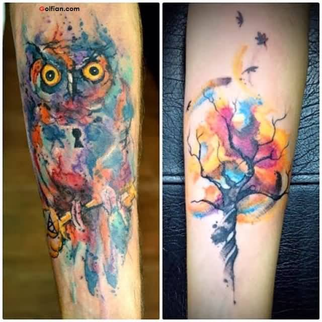 Scary Owl Face and Tree Tattoo Design For Men Sleeve