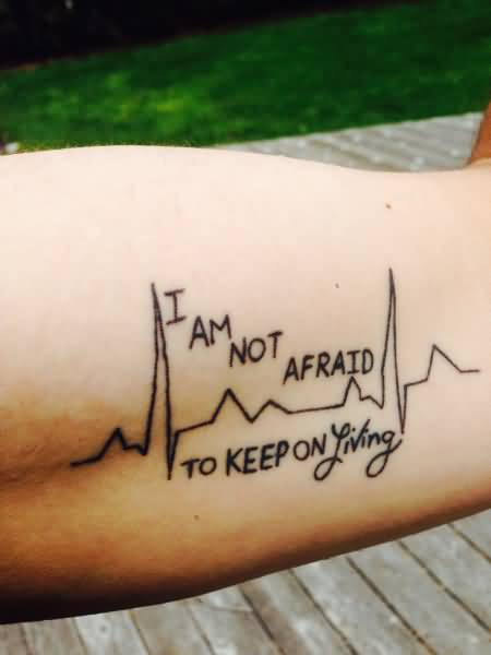 Sweet Heartbeat Quote Tattoo Made On Men Inner Arm
