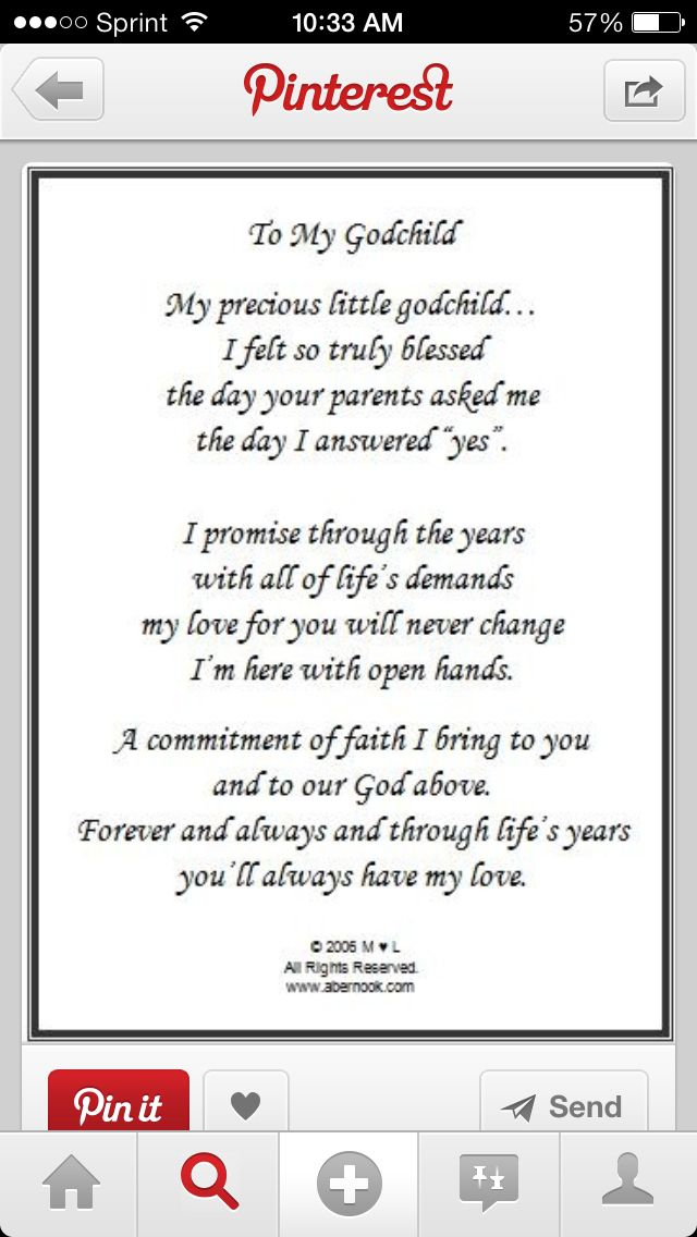 To my godchild my precious little godchild i felt so truly blessed