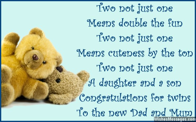 Two Not Just One Means Double The Fun A Daughter A Son Congratulations For Twins to The New Dad And Mum