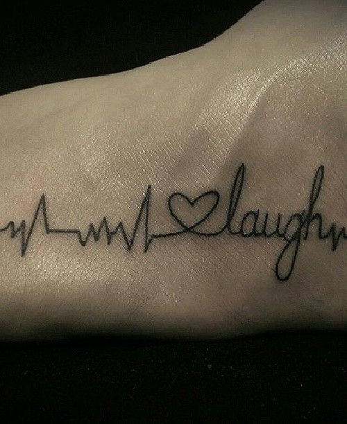 Ultimate Small Heartbeat Love Laugh Tattoo For Men Foot