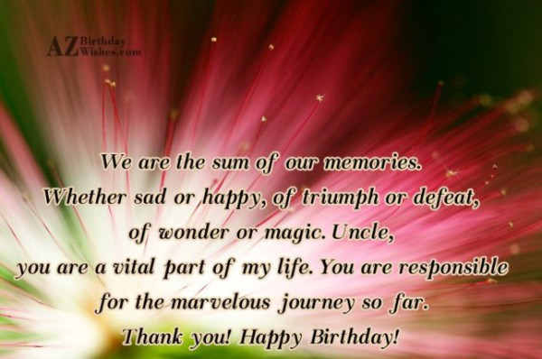 We Are The Same Of Our Memories Thank You Happy Birthday