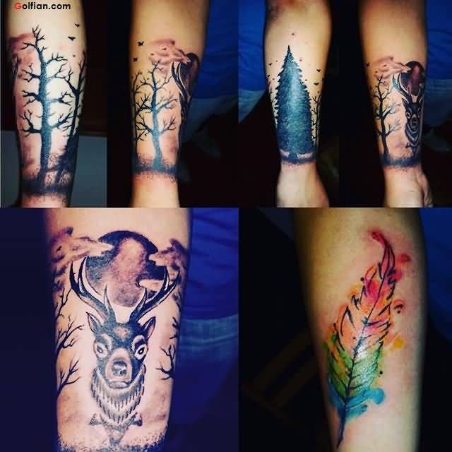 Wonderful Aqua Feather Dry Tree Deer Tattoo Design For Arm