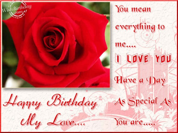 You Mean Everything To Me I Love You Have A Day Happy Birthday My Love