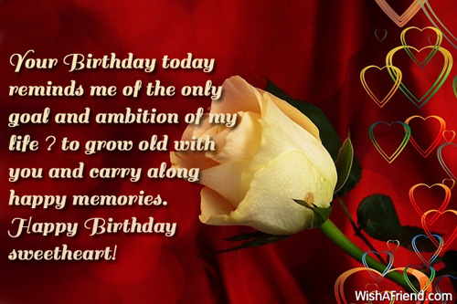 Your Birthday Today Reminds Me Of The Only Goal And Ambition Of My Life Happy Birthday Sweetheart